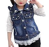 MYtodo Girl Sweet Broken Hole Denim Jacket Cowboy Pearl Adorn Vest Denim Jacket (4-5 Years)