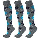 Mysocks 3 Paare Kinder Kniestrümpfe Socken Argyle Anthrazitblau Marine