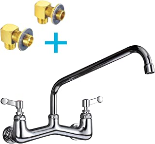 """JZBRAIN 8 Inch Center Commercial Faucet Wall Mount Kitchen Faucet with 14"""" Swing Spout, Heavy Duty Backsplash or Wall Mount Faucets Including All Necessary Installation Kits"""