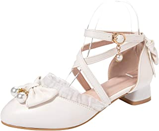 TAOFFEN Women Sweet Pumps Girls Mary Jane Shoes with Bow Low Heel
