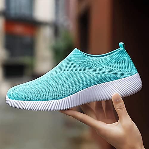XCHJY Mujeres Vulcanized Zapatos Mujeres Zapatillas de Deporte resbalones Pisos Zapatos Mujeres Mocasines Tallas Grandes Caminatas Piso (Color : Blue, Shoe Size : 40)