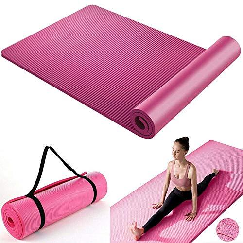 Cómoda esterilla de yoga para pilates, gimnasio, correa de transporte de 15 mm de grosor, gran NBR, esterilla de ejercicios, esterilla de pilates, esterilla NBR