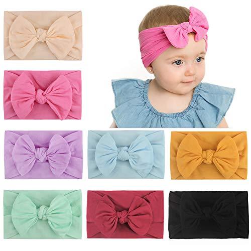 8 diademas de nailon para bebés y niñas, muy elásticas, para el pelo, accesorios para el cabello suave para niños recién nacidos (1)