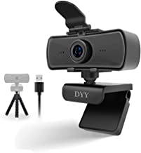 DYY 2K Webcam with Microphone, 30FPS Full HD Web cam for Computers PC Laptop Desktop, USB Plug and Mic Privacy Cover Tripo...