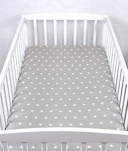 BABYLUX Kinder Baby SPANNBETTLAKEN Spannbetttuch Baumwolle 60x120 70x140 Sterne (70x140 cm, 91. Sterne Grau)