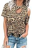SMENG Camiseta de mujer con hombros descubiertos, de manga corta, con estampado de leopardo, elegante, túnica B-oro 50-52