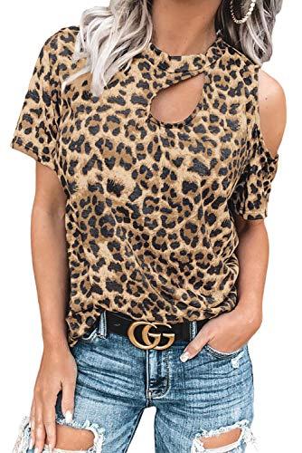 SMENG Camiseta de mujer con hombros descubiertos, de manga corta, con estampado de leopardo, elegante, túnica B-oro 42-44