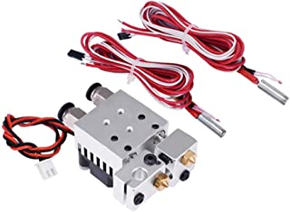 KEHUASHINA 2 in 2 Out 3D Printing All Metal Hotend Kit Dual Extruder with Thermistor and Cartridge Heater Red Color 0.4mm/...