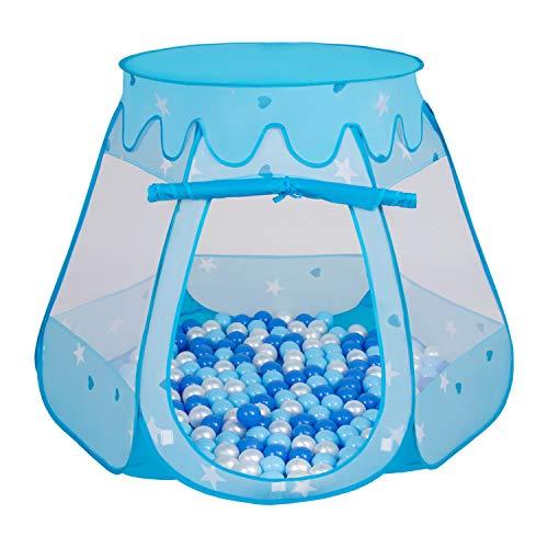 Selonis Baby Spielzelt Mit Plastikbällen Zelt 105X90cm/100 Bälle Plastikkugel Kinder, Blau:Babyblau-Blau-Perle