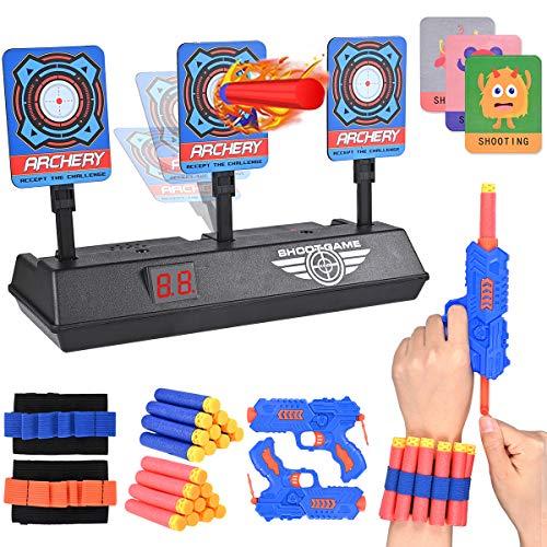 Nabance - Bersaglio per bersaglio automatico, con 2 giocattoli di pistola 2 fasce da polso, 3 adesivi 20 freccette per pistole Nerf N-Strike Elite Mega Rival