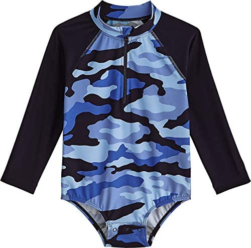 Coolibar UPF 50 Baby Wave One Piece Swimsuit Sun Protective 6 12 Months Navy Nautical Camo product image