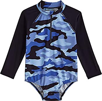 Coolibar UPF 50+ Baby Wave One-Piece Swimsuit - Sun Protective  12-18 Months- Navy Nautical Camo