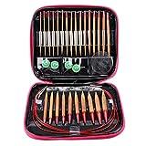 丸型ヘッドニードルキット、竹輪針セット、編み針リング、輪針、 DIY、手芸用品、制作道具、手作り、切り替え式、収納ハンドバッグ付き