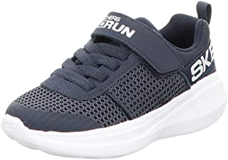 Skechers Boys' GO Run Fast THARO Trainers, Blue (Navy Textile/Navy Synthetic/White Trim NVY), 11.5 (29 EU)