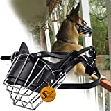 Sage Square Adjustable Strap Iron Wire Muzzle Cum Mouth Cover Cum Basket Cage Cum Pet Safety Collar for Anti Biting Dog (Black) (Extra Large)