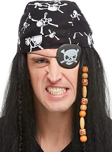 Funidelia | Parche Pirata para Hombre y Mujer ▶ Corsario, Bucanero - Color: Negro, Accesorio para Disfraz - Divertidos Disfraces y complementos para Carnaval y Halloween
