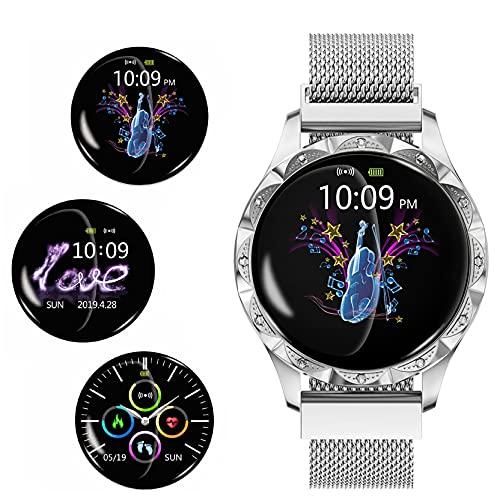 FVIWSJ Smart Watch Reloj Inteligente,Women Men 1.3 Pulgadas Pantalla Touch Round,Reloj Inteligente Impermeable IP67 para Hombre Mujer niños,Pulsera Actividad Inteligente para Android iOS,Blanco
