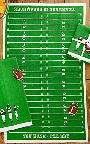Two's Company Football Tackle the Dishes Dishtowel Bottle Opener Set (Football Field)