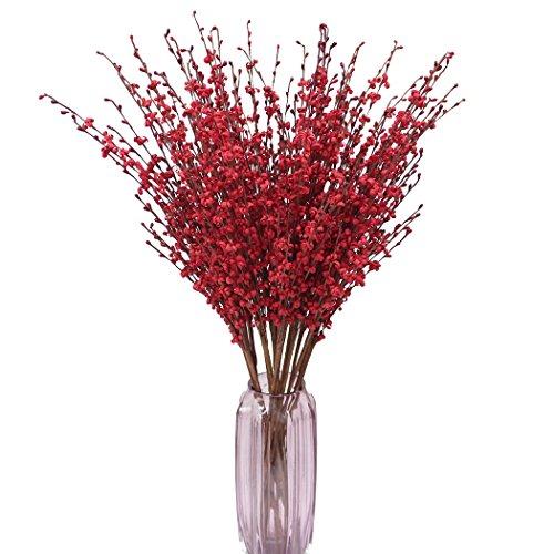 Bouquet de fleurs artificielles, jasmin d'hiver, 10 fleurs de 74 cm, Mélamine, Red, 29\