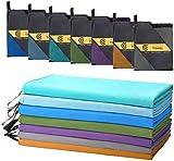 CAMBIVO Set da 2 Asciugamano in Microfibra, Asciugatura Veloce, Super Assorbenti, Asciugamani Leggerissimi per Viaggio, Spiaggia, Piscina, Campeggio, Palestra