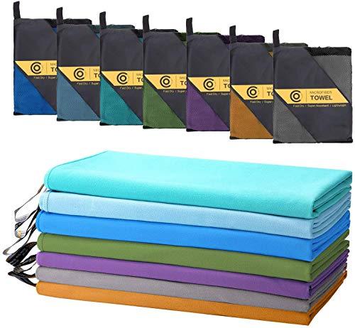 CAMBIVO Mikrofaser Handtuch Set -2 Stück Handtücher Schnelltrocknend, Sporthandtuch, Sauna, Golf, Yoga, Outdoor Camping, Fitnessstudio
