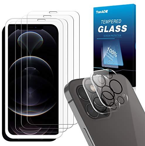 TOPACE Schutzfolie kompatibel mit iPhone 12 Pro Max Panzerglas(3)+Kamera Panzerglas(2), 9H Härte Panzerglas Schutzfolie, HD Klar Bläsenfrei Anti- Kratzer Glas Panzerglasfolie Displayschutzfolie
