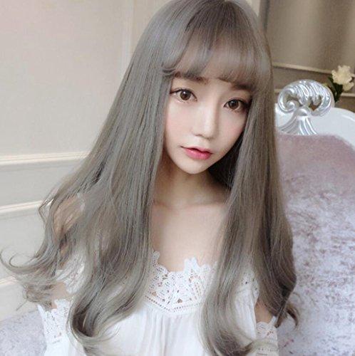 Longless Big Girl Perruque frisée Longue Vague de réalisme Visage Mode Cheveux Duveteux définit