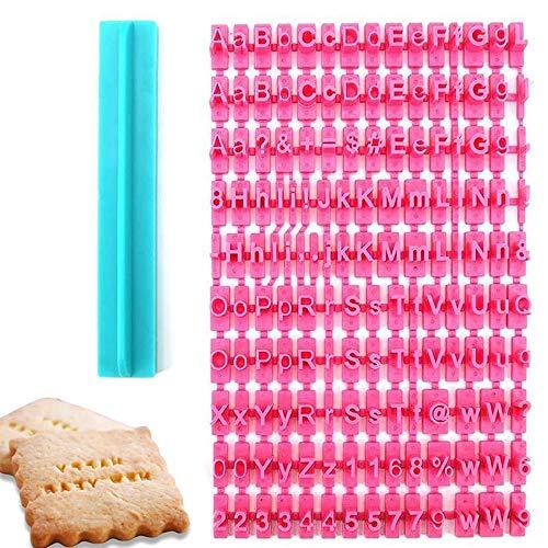 Set di 160 timbri per biscotti, con lettere inferiori e superiori, con numero di stampini e timbri per creare messaggi stampati personalizzabili nella cottura di biscotti, fondente e torte.