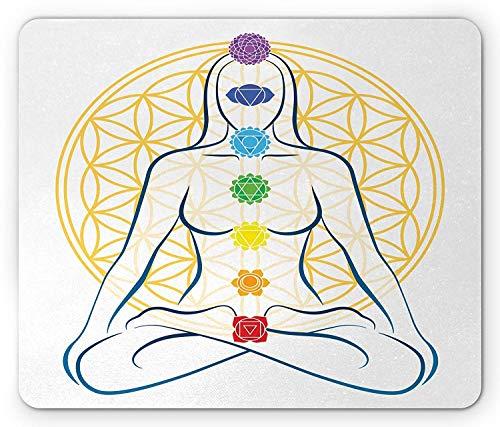 Heilige Geometrie-Mausunterlage, meditierend auf Lotus-Haltung mit Chakra-Punkten auf Körper-Yoga-Zen-Friedensthema, Standardgrößen-Rechteck-rutschfestes Gummi-Mousepad, Mehrfarben