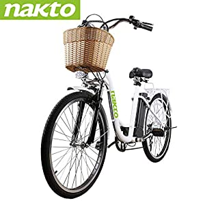 NAKTO 26″ 250W City-Electric Bicycle Sporting 6-Speed Gear E-Bike 36V 10A Lithium Battery-White