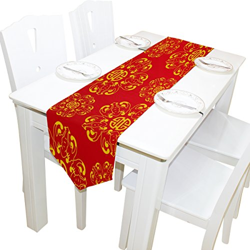 ALAZA Table Runner Home Decor, Stylish Golden Red Chinese Knot Art Table Cloth Runner Coffee Mat for Wedding Party Banquet Decoration 13 x 90 inches