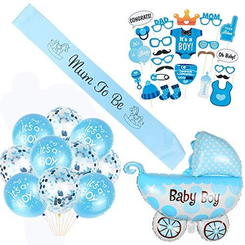 Crazy-M Baby Shower Deco garçon/garçon Une décoration de Douche de bébé/décoration de Douche de bébé/Masques de Photo Bleu Nouveau-né Prop, Maman à être Ceinture, Ballon d'aluminium Poussette