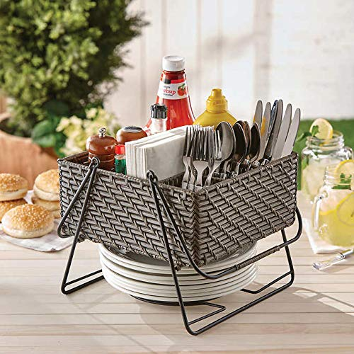 Sale!! Mesa Rattan 6-Compartment Durable Steel Indoor/Outdoor Easy Handle Picnic Caddy