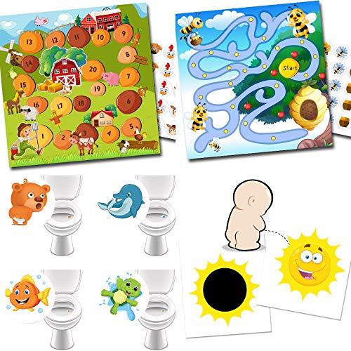 Pot d'entraînement avec 2 systèmes de récompense Ferme + abeilles / 4 stickers WC préférés / 2 stickers magiques Soleil