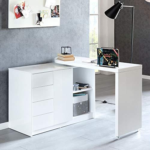 Finebuy Schreibtisch Nomi 166 x 42 x 77 cm groß weiß Hochglanz Computertisch | Bürotisch 115 cm breit | PC-Tisch mit Metallbeinen | Home Office Konsole modern