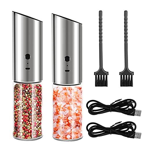 Braoses 2PCS Elektrische Salzmühle USB Aufladbar Salz und Pfeffermühle Elektrisch mit LED-Licht Gewürzmühle Verstellbarem Keramikmahlwerk Einstellbare Grobkörnigkeit Einhandbedienung - 280ML