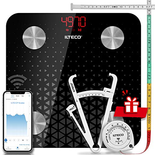 ILTECO Báscula de Baño Grasa Corporal y Muscular Inteligente, Báscula de precisión digital con Tecnología Bluetooth, APP 13 análisis (IMC, Peso Óseo, Masa, Agua etc) conexión Android e iOS Negro