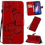 SMYTU Funda Xiaomi Redmi Note 8t,Rojo Cuero PU Retro y Cubierta Suave con Flip Case Cover,Cierre Magnético,Función de Soporte Incorporado(B-Rojo)