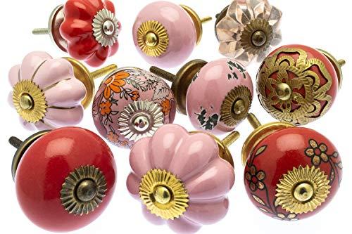 Set keramische en glazen kasten knoppen in dramatische roden en rozen x 10 stuks (MG-752) - 'Mango Tree' TM geregistreerd product