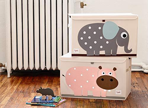 3 Sprouts Kinderspielzeugkiste - Aufbewahrungskoffer für Jungen und Mädchen, Hippo - 3