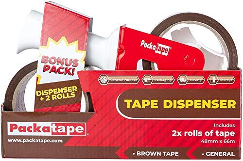 Packatape | Paketbandabroller mit 2 Rollen Klebeband Braun | Idealer Klebebandabroller, Abroller Paketband, Paketklebeband Abroller, Handabroller für Paketband, Packband, Packetklebeband Rolle