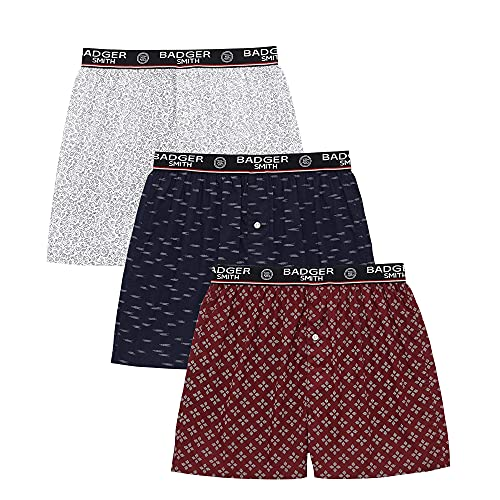 Badger Smith Herren 5 - Packung und 3 - Packung Cotton Print Multicolor Boxershorts (L, Multi Pack von 3)