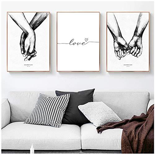 Arte de la pared Pintura de la lona Manos blancas y negras Frases de amor Carteles e impresiones nórdicos Cuadros de la pared Decoración moderna para el hogar-50x70cm (19.7'x27.6') Sin marco