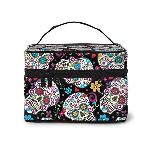 Bolsa de maquillaje multifuncional con diseño de calaveras de azúcar, bolsa de cosméticos