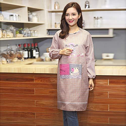 ZXL Keuken Keukenschort Verdikking Cartoon Plaid Blouse Volwassenen Overalls Mouwen Schort Anti-Dressing (Kleur: Lila, Maat: 100 * 100)