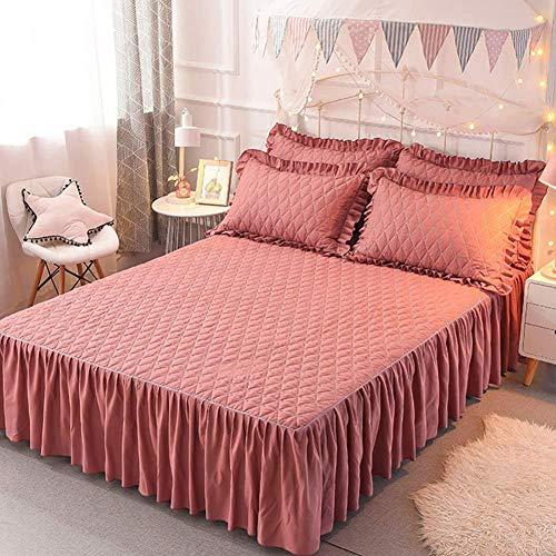 Tagesdecke Bett Rock, Bett Volant Baumwolle Tagesdecke Mit Rüschen Hotel Qualität Faltenresistent Und Ausbleichen Beständig,G-200x220cm(79x87inch)