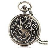 ZHAOJ Reloj de Bolsillo de dragón de Juego de Tronos de Bronce y Cobre Vintage, Relojes de Mujer de Cazador Moderno, Cadena Informal para Hombre, Regalo