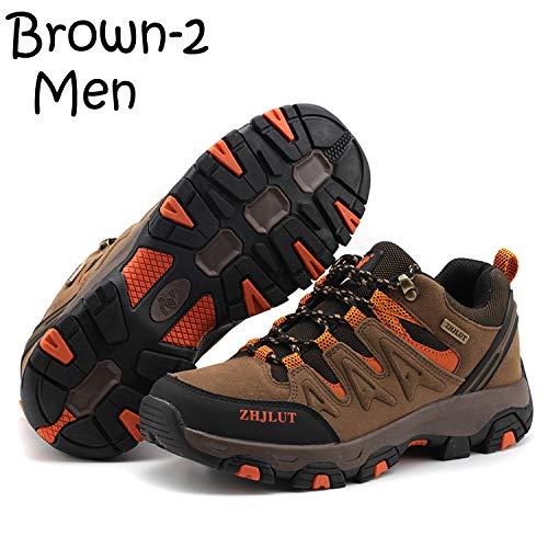 Unitysow Zapatillas de Trekking para Hombres Zapatillas de Senderismo Botas de Montaña Antideslizantes AL Aire Libre Zapatillas de Camping Zapatillas de Deporte EU35-47,Marrón-2,EU43