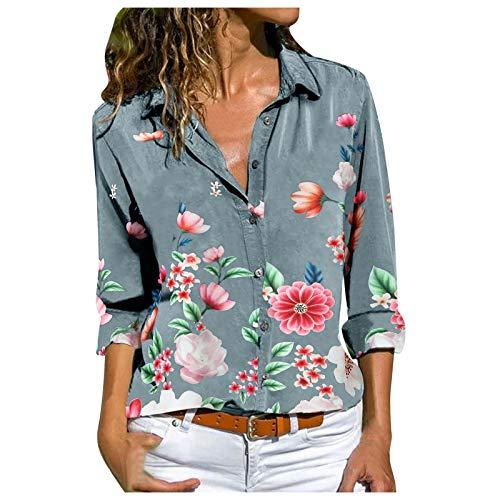 Damen Blumendruck Shirt Top Bunte frische Mode-Stil