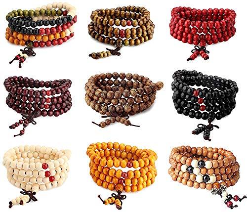 CASSIECA 108 Mala Madera Pulsera/Collar Cadena Rosario Cuentas Multicolor Budista Tibetano Buda Chino Mala Nudo Elástico Rosario Pulsera para Hombres Mujeres 9 Piezas